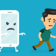 Angry scary smartphone run for young man. Vector modern flat style cartoon creative character illustration icon.