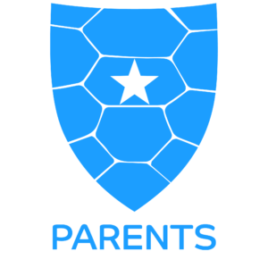 "Pale blue Starshell Student Shield Icon with text ""Parents"""