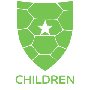 "Green Starshell Student Shield Icon with text ""Kids"""